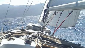 Deck of a sailing boat. Main deck of a sailboat or yacht Stock Photo