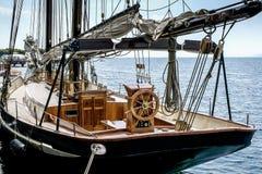 Deck of a sailing boat. Sailing boat moored on Lake Garda stock photos