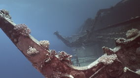 Deck of Salem Express shipwreckss underwater in the Red Sea in Egypt. Extreme tourism on the ocean floor in the world of coral reefs, fish, sharks. Researchers stock footage