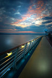 On the deck of the ship. At sunrise Stock Photos