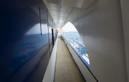 Deck of a ship. Empty deck of a ship on a sunny day Stock Image