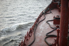 Deck ship. With the equipment and hoses to pump water Stock Photos