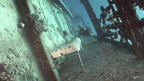Deck of ship Salem Express wrecks underwater in Red Sea in Egypt. stock footage
