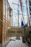 Deck on the ship with sign Crew only Royalty Free Stock Photography