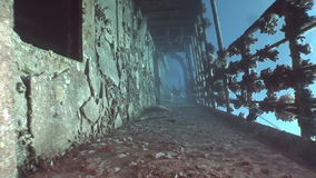 Deck of ship wrecks Salem Express underwater in the Red Sea in Egypt. Extreme tourism on the ocean floor in the world of coral reefs, fish, sharks. Researchers stock footage
