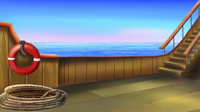The deck of a small ship. Digital painting of the deck of a small ship stock illustration