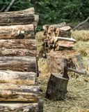 A deck of stacked logs and an axe Stock Images