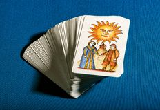 Deck of stacked tarot cards with the Sun on top Stock Photography