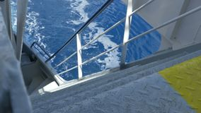 Deck stairs on large ship stock video footage