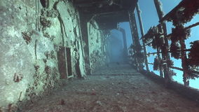 Deck of sunken ship Salem Express shipwrecks underwater in the Red Sea in Egypt. Extreme tourism on ocean floor in world of coral reefs, fish, sharks stock footage