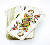 Deck of tarot game cards. With the Fool on top Royalty Free Stock Images