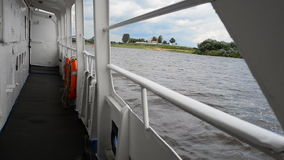 Deck tourist ship to travel on the River Volkhov stock video footage