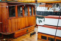 Deck of wooden ship Stock Photo
