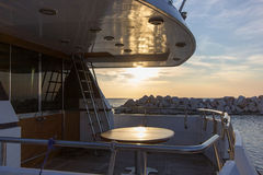 Deck of yacht boat  and sunset Royalty Free Stock Images
