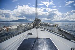 A deck of yacht in the northern sea on a sunny summer day stock photo