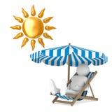 Deckchair和遮阳伞和太阳在白色背景 被隔绝的3d我 免版税库存图片