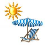 Deckchair και parasol και ήλιος στο άσπρο υπόβαθρο Απομονωμένο τρισδιάστατο ι διανυσματική απεικόνιση