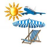 Deckchair και parasol και ήλιος στο άσπρο υπόβαθρο Απομονωμένο τρισδιάστατο ι απεικόνιση αποθεμάτων