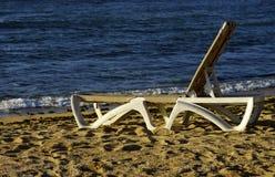 The deckchair. A deckchair on a beach Royalty Free Stock Photo
