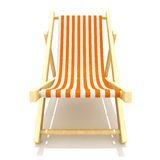 Deckchair. 3d colorful wooden deck chair with orange stripe pattern fabric Royalty Free Stock Photography
