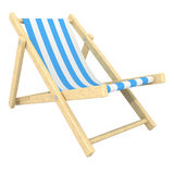 Deckchair. 3d colorful wooden deck chair with blue stripe pattern fabric Stock Photos