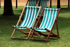 Deckchair. Image of deckchairs in Hyde Park, London Royalty Free Stock Photos