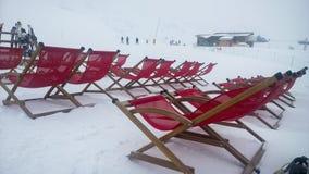滑雪deckchair 免版税图库摄影