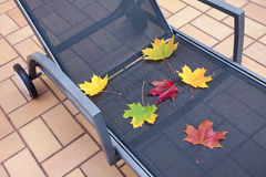 Deckchair at autumn Royalty Free Stock Photography