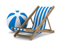 Deckchair and ball on white background Stock Images
