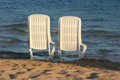Deckchair on a beach Royalty Free Stock Image