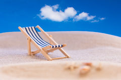 Deckchair beach blue sky Royalty Free Stock Images