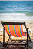 Deckchair on the beach Stock Photo