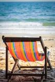 Deckchair on the beach Stock Photo