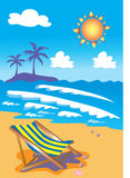 Deckchair on tropical sunny beach. An illustration of a blue and yellow striped deckchair standing on a sandy beach with seashells and breaking waves. In the Royalty Free Stock Photos
