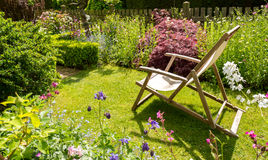 Deckchair. Chill out space in garden Stock Photo