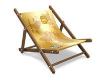 Deckchair with the credit card. Stock Photos