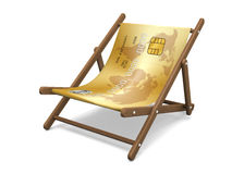 Deckchair with the credit card. Stock Image