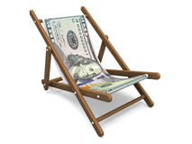 Deckchair with the dollar banknote. Stock Photos