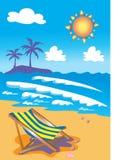 Deckchair en la playa Fotos de archivo libres de regalías