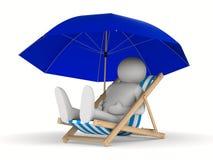 Deckchair en parasol op witte achtergrond Royalty-vrije Stock Afbeelding