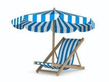 Deckchair en parasol op witte achtergrond Stock Afbeelding