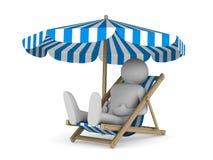 Deckchair en parasol op witte achtergrond Stock Foto