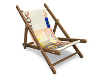 Deckchair with the euro banknote. Royalty Free Stock Image