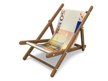 Deckchair with the euro banknote. Royalty Free Stock Photo