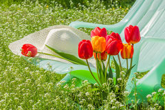 Deckchair, hat, tulips on sunny spring lawn. Green chaise, a white hat and bouquet of tulips on a sunny spring meadow in a lush garden close-up, backlit Royalty Free Stock Images