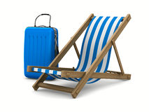 Deckchair and luggage on white background Stock Photos