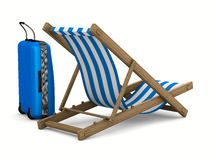 Deckchair and luggage on white background Stock Photography