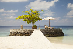 Deckchair in the Maldives Royalty Free Stock Photo