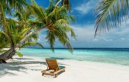 Deckchair na nieporuszonej tropikalnej plaży obraz royalty free