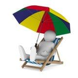 Deckchair och ett slags solskydd på vitbakgrund Arkivbild